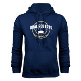 Navy Fleece Hoodie-Oral Roberts Basketball Arched w/ Ball