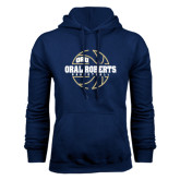 Navy Fleece Hoodie-Oral Roberts Basketball Lined Ball
