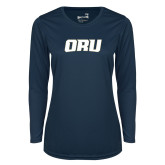 Ladies Syntrel Performance Navy Longsleeve Shirt-ORU