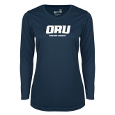 Ladies Syntrel Performance Navy Longsleeve Shirt-ORU Golden Eagles