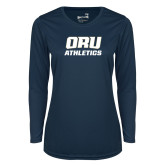 Ladies Syntrel Performance Navy Longsleeve Shirt-Athletics
