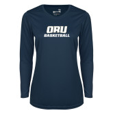 Ladies Syntrel Performance Navy Longsleeve Shirt-Basketball