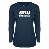 Ladies Syntrel Performance Navy Longsleeve Shirt-Baseball