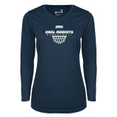 Ladies Syntrel Performance Navy Longsleeve Shirt-Basketball Net Design