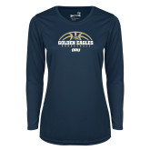 Ladies Syntrel Performance Navy Longsleeve Shirt-Basketball Arch Design