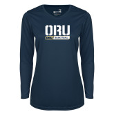 Ladies Syntrel Performance Navy Longsleeve Shirt-ORU Basketball Design