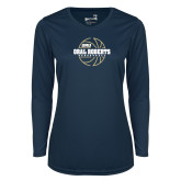 Ladies Syntrel Performance Navy Longsleeve Shirt-Basketball Outline Design