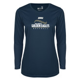 Ladies Syntrel Performance Navy Longsleeve Shirt-Baseball Stitch Design