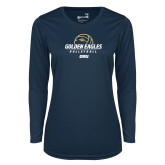 Ladies Syntrel Performance Navy Longsleeve Shirt-Stacked Volleyball Design