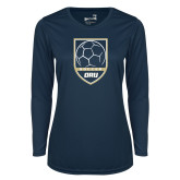 Ladies Syntrel Performance Navy Longsleeve Shirt-Soccer Shield Design