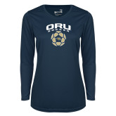 Ladies Syntrel Performance Navy Longsleeve Shirt-Soccer Design