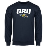 Navy Fleece Crew-ORU w Mascot