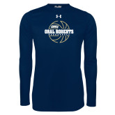 Under Armour Navy Long Sleeve Tech Tee-Basketball Outline Design