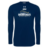 Under Armour Navy Long Sleeve Tech Tee-Baseball Stitch Design