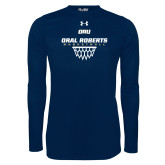 Under Armour Navy Long Sleeve Tech Tee-Basketball Net Design