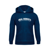 Youth Navy Fleece Hoodie-Arched Oral Roberts University