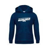 Youth Navy Fleece Hoodie-Golden Eagles Slanted w/ Logo