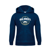 Youth Navy Fleece Hoodie-Oral Roberts Basketball Arched w/ Ball