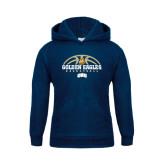 Youth Navy Fleece Hoodie-Golden Eagles Basketball Half Ball
