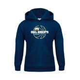 Youth Navy Fleece Hoodie-Oral Roberts Basketball Lined Ball