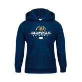 Youth Navy Fleece Hoodie-Golden Eagles Volleyball Stacked