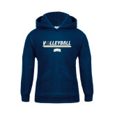 Youth Navy Fleece Hoodie-Volleyball w/ Ball