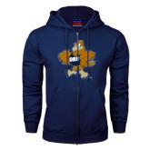 Navy Fleece Full Zip Hoodie-Eli