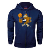 Navy Fleece Full Zip Hoodie-Basketball Eli