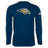 Performance Navy Longsleeve Shirt-Golden Eagle Mascot