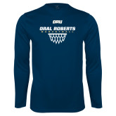 Syntrel Performance Navy Longsleeve Shirt-Basketball Net Design