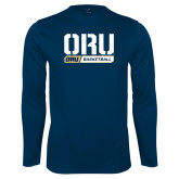 Performance Navy Longsleeve Shirt-ORU Basketball Design