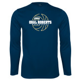 Performance Navy Longsleeve Shirt-Basketball Outline Design