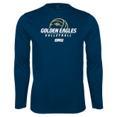 Performance Navy Longsleeve Shirt-Stacked Volleyball Design