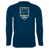 Performance Navy Longsleeve Shirt-Soccer Shield Design