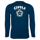 Syntrel Performance Navy Longsleeve Shirt-Soccer Design