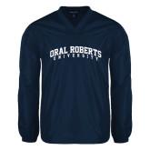 V Neck Navy Raglan Windshirt-Arched Oral Roberts University