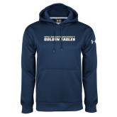 Under Armour Navy Performance Sweats Team Hoodie-Stacked Wordmark