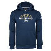 Under Armour Navy Performance Sweats Team Hoodie-Basketball Arch Design
