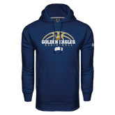 Under Armour Navy Performance Sweats Team Hoodie-Golden Eagles Basketball Half Ball