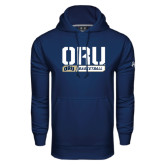 Under Armour Navy Performance Sweats Team Hoodie-ORU Basketball Stencil
