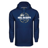 Under Armour Navy Performance Sweats Team Hoodie-Oral Roberts Basketball Lined Ball