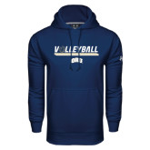 Under Armour Navy Performance Sweats Team Hoodie-Volleyball w/ Ball