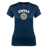 Ladies Syntrel Performance Navy Tee-ORU Soccer Geometric Ball