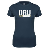 Ladies Syntrel Performance Navy Tee-ORU Basketball Design