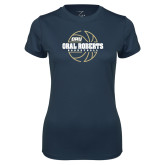 Ladies Syntrel Performance Navy Tee-Basketball Outline Design