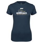 Ladies Syntrel Performance Navy Tee-Baseball Stitch Design