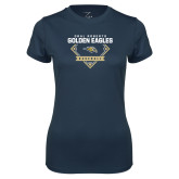 Ladies Syntrel Performance Navy Tee-Baseball Plate Design