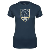 Ladies Syntrel Performance Navy Tee-Soccer Shield Design