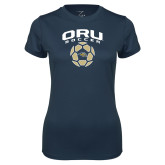 Ladies Syntrel Performance Navy Tee-Soccer Design