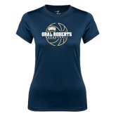 Ladies Syntrel Performance Navy Tee-Oral Roberts Basketball Lined Ball